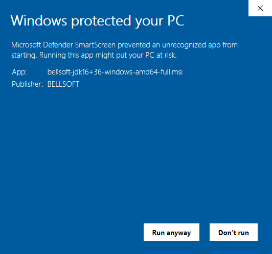 Windows Defender SmartScreen Issue